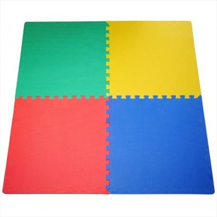 Set 4 Alfombras puzzle multicolor